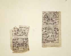 Fragments of two sculptured slabs from Amravati, photographed on site after the Government excavations of 1880
